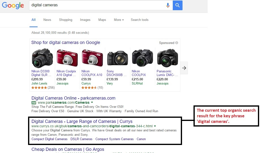 Example of organic SEO search results